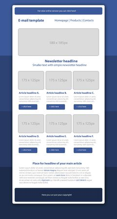 Professional business style newsletter blue template