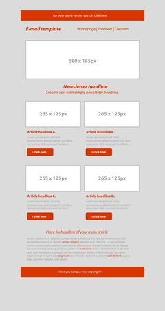 tittle: Newsletter red template with business style