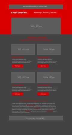 business style: Newsletter red template with business style