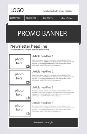 Newsletter black and white template with business style