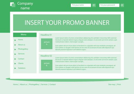 Website light green template layout with text Illustration