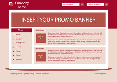 Website dark red template layout with text Vector