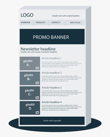 article: Newsletter dark blue template Illustration