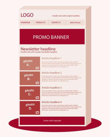 Newsletter dark red template