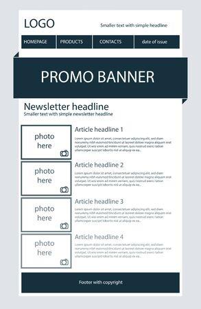Newsletter dark blue template Stock Illustratie