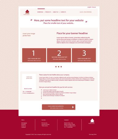 Website dark red template layout with text