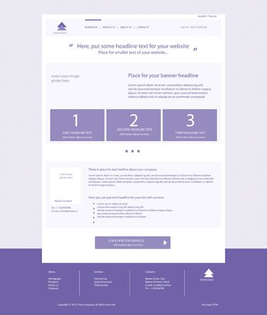 web site: Web site violet template layout with text