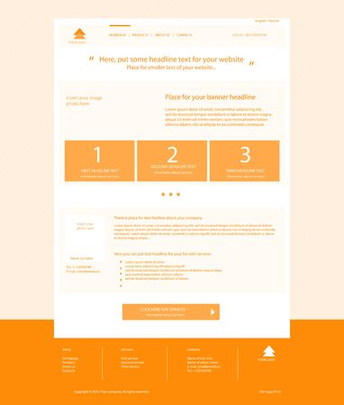 web site: Web site light orange template layout with text
