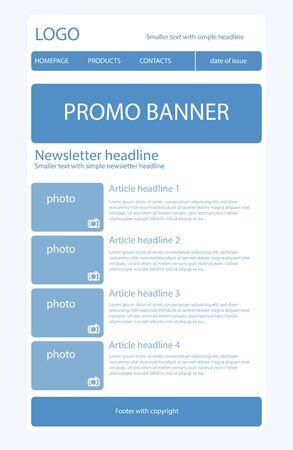 Newsletter light blue template Illustration