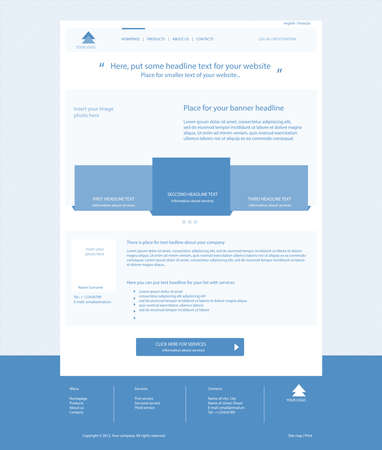 Web site light blue template layout with text Vector