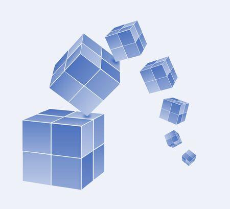 Falling color cubes Illustration