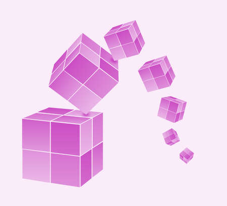 falling cubes: Falling color cubes Illustration
