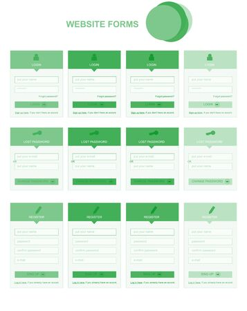 web site: Flat web site forms with text