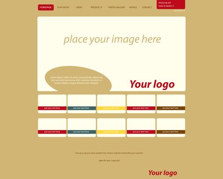responsive web layout template for fashion Stock Illustratie