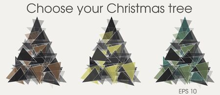 snow white: Vector christmas tree with triangle design Illustration