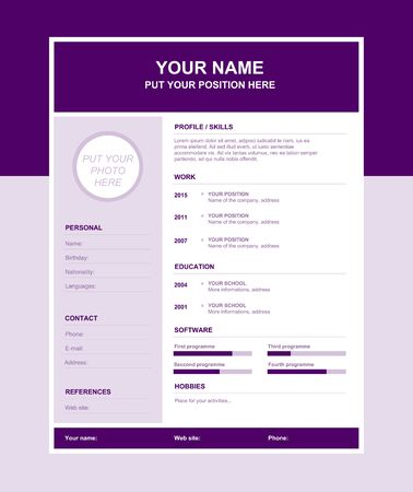 Vector simple resume template