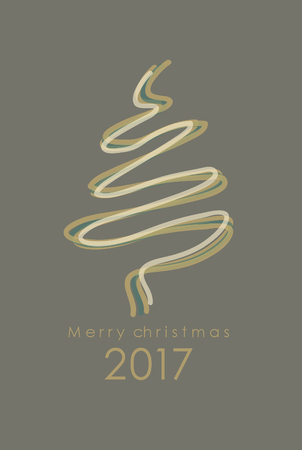 minimalistic: Merry Christmas minimalistic illustration card with tree