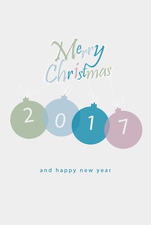minimalistic: Merry Christmas minimalistic illustration card with decorations