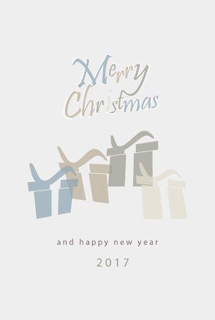 minimalistic: Merry Christmas minimalistic illustration card with gifts Illustration