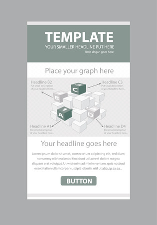 Corporate vector layout templates for business or non-profit organization with infographic cubes