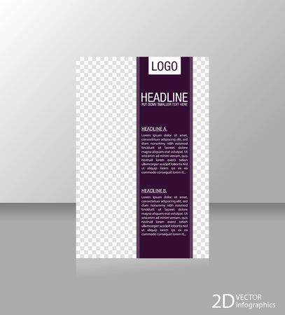 Brochure template flyer for business, design, education, presentation, website, magazine page. Color purple.