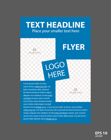 Flyer concept brochure template for business, education, presentation, website, magazine cover. Blue color.