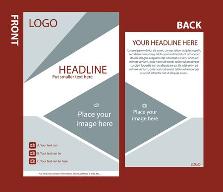 Newsletter corporate vector template with front and back layout