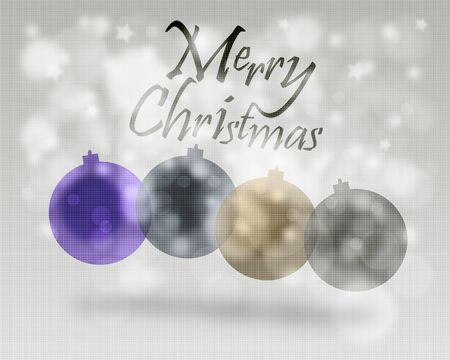 minimalistic: Merry Christmas minimalistic illustration card with decorations at background Stock Photo