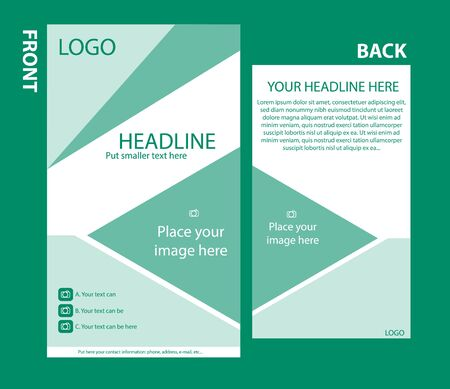 responsive design: Newsletter corporate vector template with front and back layout