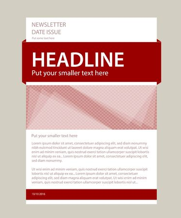 Newsletter corporate vector layout template for business or non-profit organization
