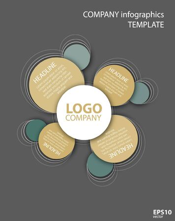 Vector company infographic template with logo and circles Illustration