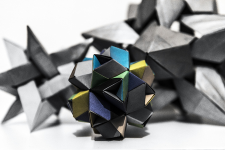 Multicolored origami paper polyhedron