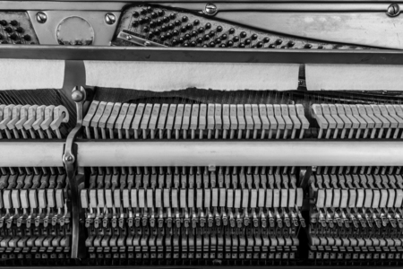 octaves: Inside a piano wooden parts