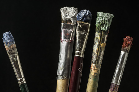 Dirty oil paint brushes