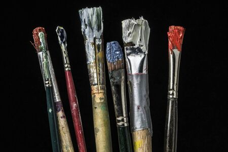 bristles: Dirty oil paint brushes