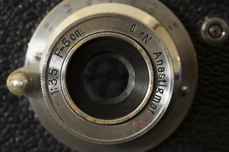 Vintage camera lens Stock Photo