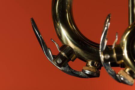 brass trumpet water key macro closeup