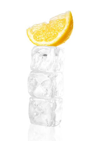 Ice cubes and orange isolated on a white background photo