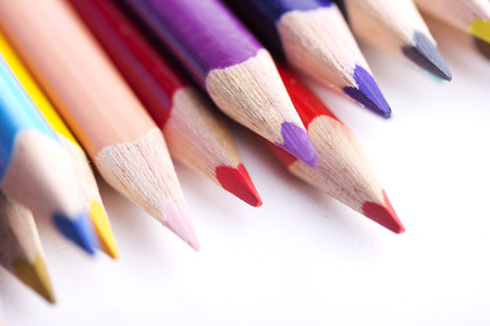 colored pencils, isolated on a white background photo