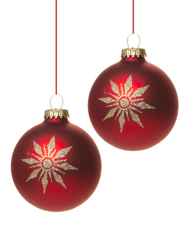 red christmas baubles with white pattern, star  photo