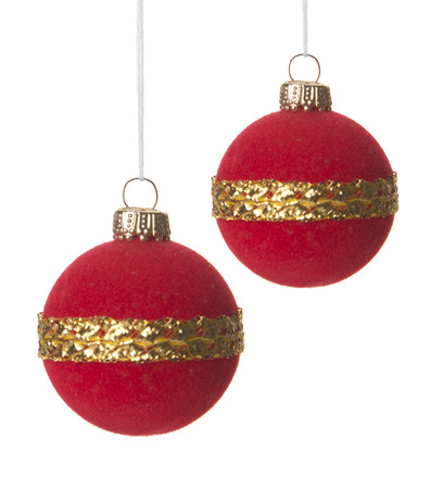 Christmas Red Balls Isolated Hanging With White