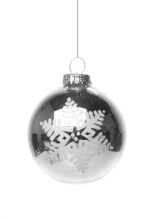 christmas, silver christmas bauble with white pattern, star isolated hanging with white background photo