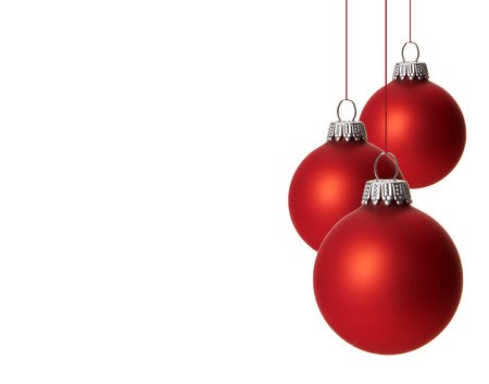 christmas, red christmas balls isolated hanging with white background photo