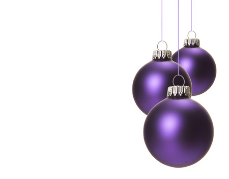 festively: christmas, purple christmas balls isolated hanging with white background