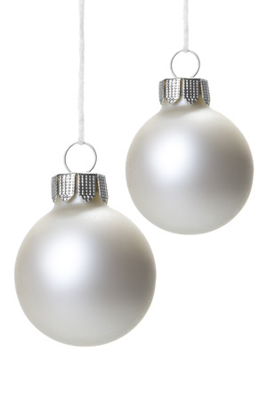 christmas white christmas balls isolated hanging with white background stock photo 23417955 - White Christmas Balls