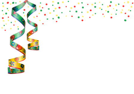 sylvester: streamers and confetti as decoration for parties, sylvester isolated, hanging with white background Stock Photo