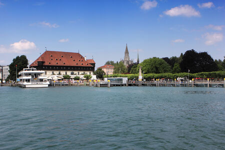 lake of constance with view to the docks from constance