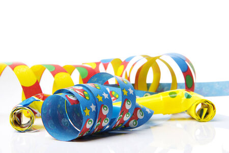 sylvester: streamers and confetti as decoration for parties, sylvester with white background