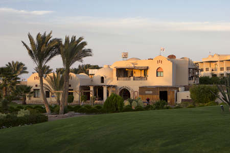 marsa: lawn, palm trees and buildings in marsa alam