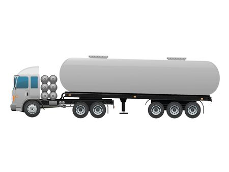 two wheel: Blank Oil trailer truck twenty two wheel Illustration